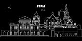 Perm Silhouette Skyline. Russia - Perm Vector City, Russian Linear Architecture, Buildings. Perm Lin poster