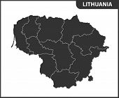 The Detailed Map Of Lithuania With Regions Or States. Administrative Division poster