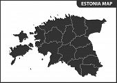 The Detailed Map Of Estonia With Regions Or States. Administrative Division poster