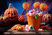 picture of lolli  - Halloween sweets for Halloween party close up - JPG