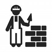 Construction Worker Icon Simple Vector Sign And Modern Symbol. Construction Worker Vector Icon Illus poster