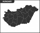 The Detailed Map Of Hungary With Regions Or States. Administrative Division poster