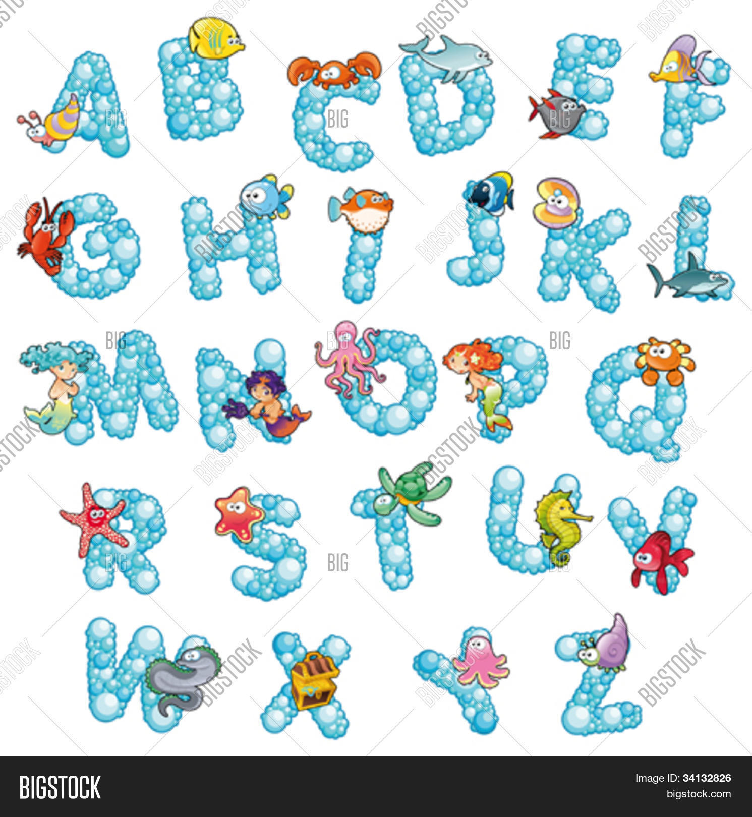 alphabet with fish and bubbles funny cartoon and vector isolated letters