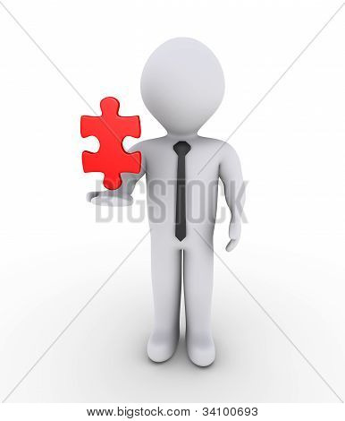 Businessman Holding On Air Puzzle Piece
