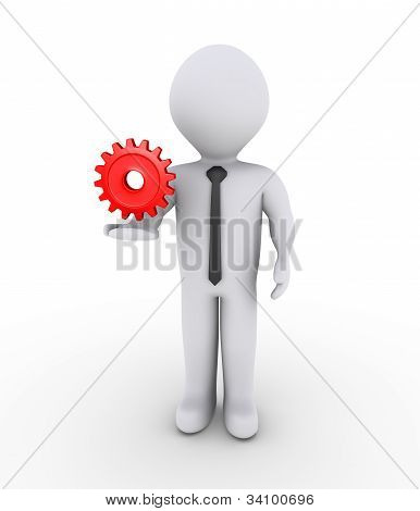 Businessman Holding On Air Cogwheel