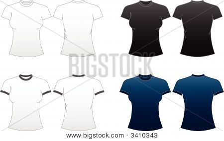 Women'S Fitted T-Shirt Templates-Series
