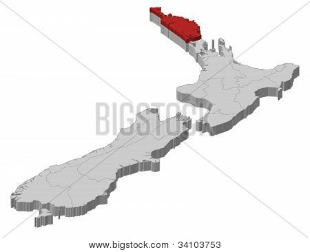 Map Of New Zealand, Northland Highlighted
