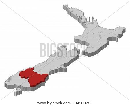 Map Of New Zealand, Otago Highlighted