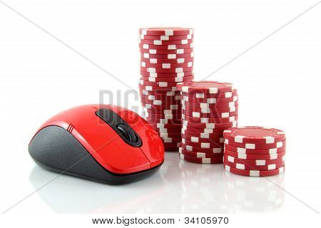 a mouse and red casino chips