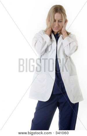 Woman Doctor With Hands Covering Ears
