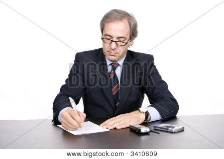 Mature Businessman Working
