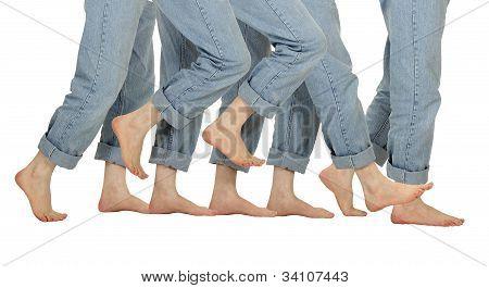 Male Barefoot Legs In Motion