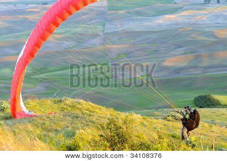 Paraglider Ready for Flight