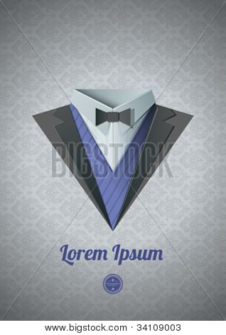 Luxury tuxedo. Origami Vintage theme. Dinner jacket Classic expensive theme. Vector. Tuxedo collection.