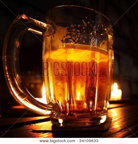 beer in dark room close up