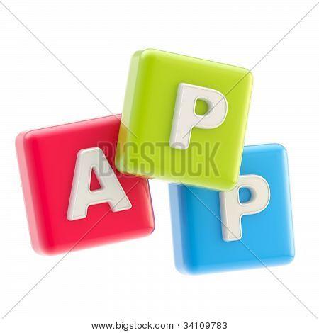 Application emblem as cube app symbol