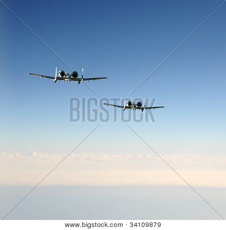 Two Jetfighters In Flight