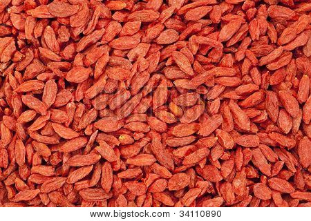 background of dried red Tibetan goji berries (wolfberry) - superfruit
