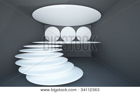An abstract interior with floating spiral staircase from the community.