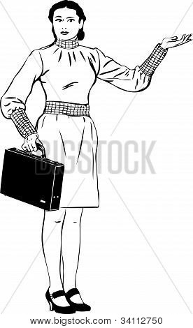 a girl with a brief-case specifies a hand