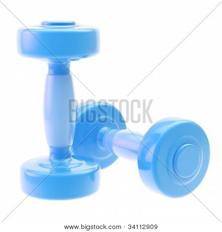 Two blue dumbbell isolated on white