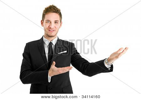 Business man making presentation to copy space isolated on white