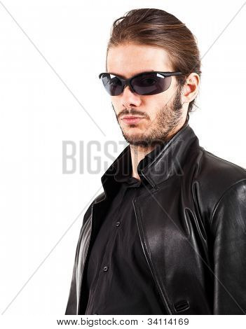 Young man wearing a black leather jacket