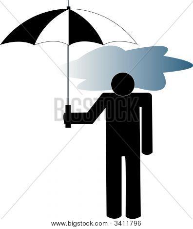 -Stick Man mit Gewitterwolke unter Dach.
