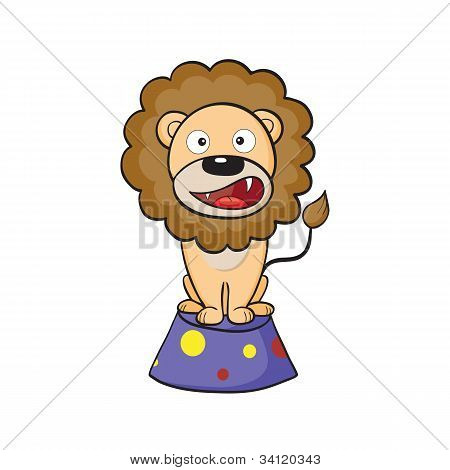 Circus Lion On A Pedestal