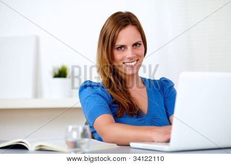 Attractive Caucasian Student Woman On Laptop