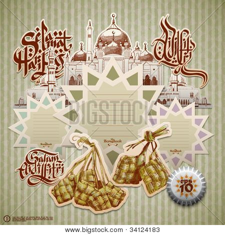 Vector Retro Scrapbook Element for Muslim Ramadan Translation of Malay Text: Greetings of Eid ul-Fitr, The Muslim Festival that Marks The End of Ramadan