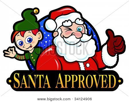 Santa Claus and Elf Approved Seal / Label / Sticker