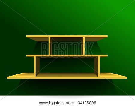 Shelf On Green Wall