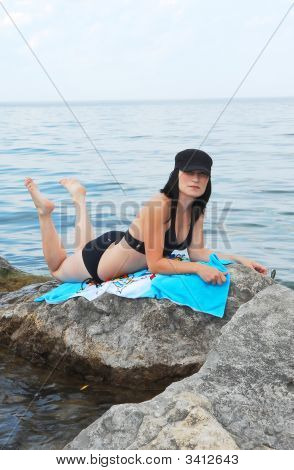 Bikini Model On The Beach.