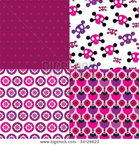 Seamless retro flower skull polka dot easy to edit pattern background in vector