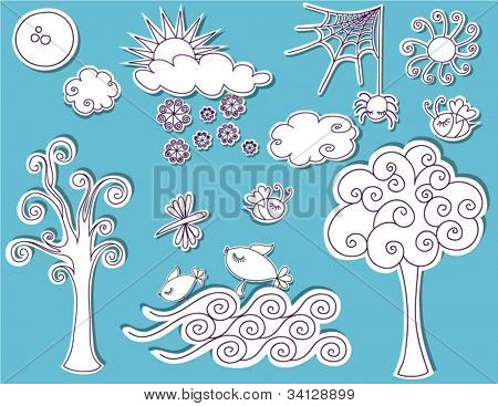 Doodle Design Elements - Nature, trees, clouds, sun, snow, sea, bees, bugs and more in a playful sketchy style, designed to be pinned to any page like black and white cutouts
