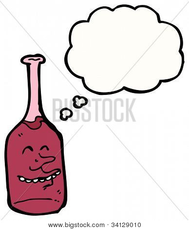 cartoon drunk red wine bottle character with thought bubble