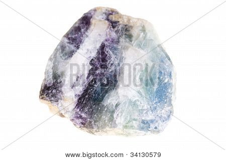 Stone Slice With Crystals Of Natural Fluorite
