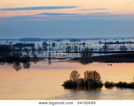 Spring Flood On Oka River