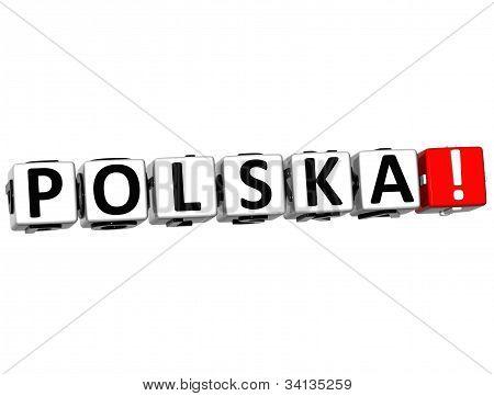 3D Polska Button Click Here Block Text