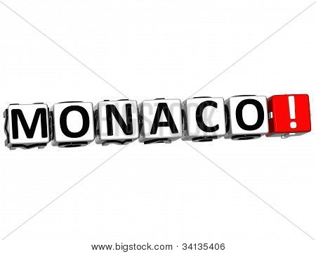 3D Monaco Button Click Here Block Text