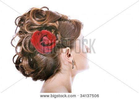 attractive girl with hairstyle frome long hair