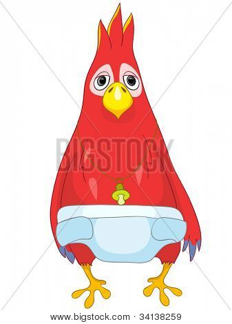 Cartoon Character Funny Parrot Isolated on White Background. Baby. Vector EPS 10.