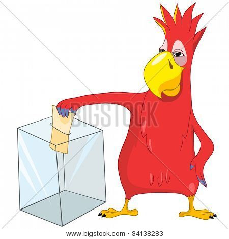 Cartoon Character Funny Parrot Isolated on White Background. Election. Vector EPS 10.