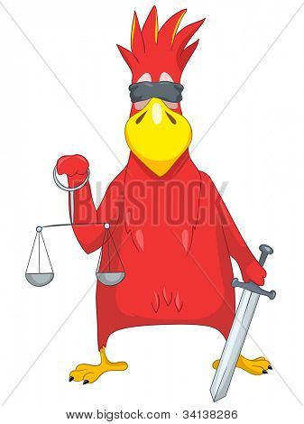 Cartoon Character Funny Parrot Isolated on White Background. Law. Vector EPS 10.