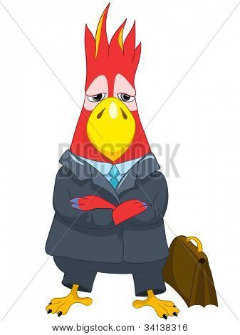 Cartoon Character Funny Parrot Isolated on White Background. Businessman. Vector EPS 10.