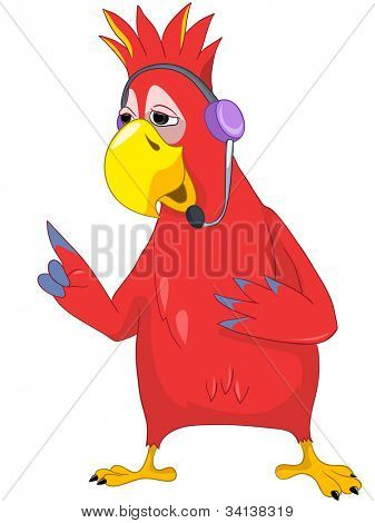 Cartoon Character Funny Parrot Isolated on White Background. Comunication. Vector EPS 10.