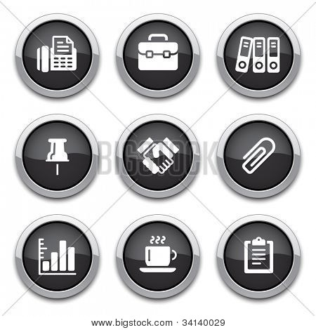 black shiny business & office buttons