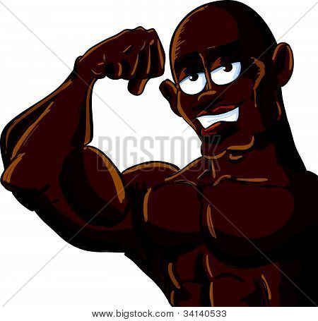 Cartoon muscle man flexing his bicep. Isolated