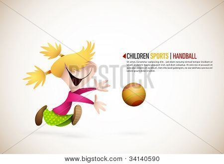 Little Girl PLaying Handball | EPS10 Vector Background | Layers Organized and Named Accordingly